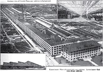 Lincoln Motor Company Plant - Lincoln plant in 1923, showing newer Ford-built addition in rear