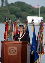 Linda Lingle addresses the National Park Service on the 65th anniversary of the Pearl Harbor Attack.