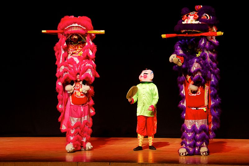 Lion dance at Wikimania 2013 opening ceremory 7.jpg
