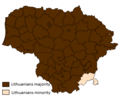 Lithuanians in Lithuania by majority and minority by muncipality.png