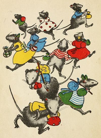 The mouse children scampering away
