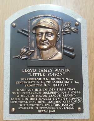 Lloyd Waner - Plaque of Lloyd Waner at the Baseball Hall of Fame