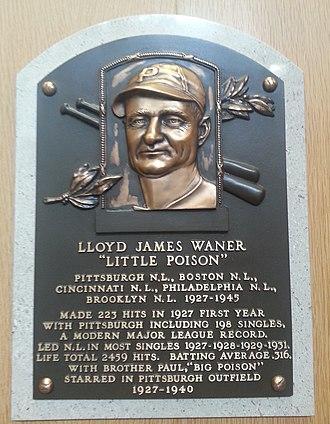 Lloyd Waner - Plaque of Lloyd Waner at the Baseball Hall of Fame