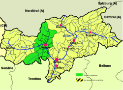 Burggrafenamt (highlighted in green) within South Tyrol