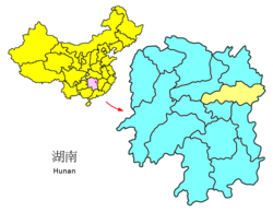Location of Changsha City in Hunan