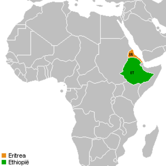 United Nations Security Council Resolution 1434 - Eritrea (orange) and Ethiopia (green)