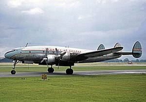 Skyways Limited - Skyways Lockheed Constellation operating an inclusive tour flight at Manchester in August 1963