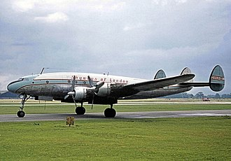 Lockheed L-749 Constellation - A Skyways of London L-749A at Manchester Ringway Airport on August 11, 1963.
