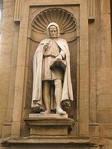 La statua di Giovanni Villani, Loggia del Mercato Nuovo, Firenze