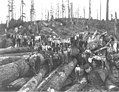 Logging crew on cold deck, with hats off, including one Asian worker and one African-American worker, Walville Lumber Company (KINSEY 740).jpeg