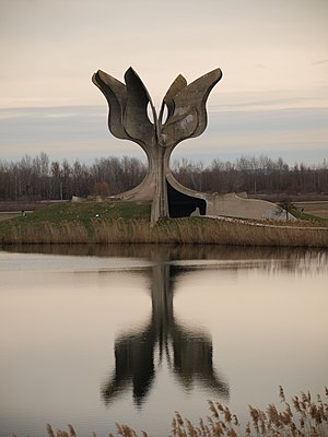 Serbs - Stone Flower, a monument to the victims of Jasenovac concentration camp as part of Croatian genocide of Serbs.