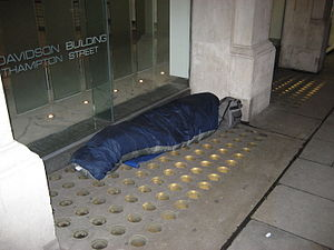 Homelessness in England - One of the rough sleepers of London. Southampton Street (a side street of the Strand, in the vicinity of Covent Garden).