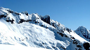 Avalanche - Loose snow avalanches (far left) and slab avalanches (near center) near Mount Shuksan in the North Cascades mountains. Fracture propagation is relatively limited.