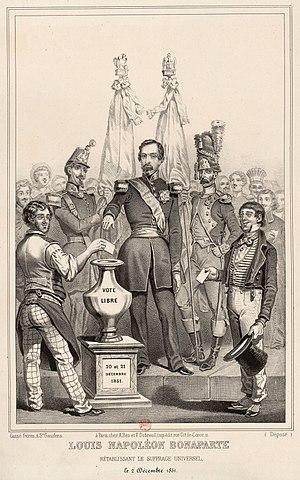 Gravure de propagande : Louis-Napoléon Bonaparte rétablissant le suffrage universel, le 2 décembre 1851