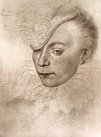Les Mignons - Contemporary portrait drawing of Louis de Maugiron