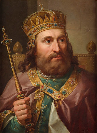 """Hungarian Crown - Portrait of King Louis I of Hungary wearing the """"Hungarian Crown"""""""