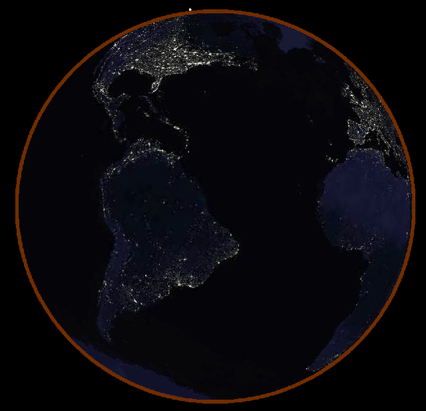 Ilustrasi bagaimana kenampakan Bumi dari Bulan ketika terjadi gerhana Bulan total. Cincin merah di sekitar Bumi berasal dari atmosfer yang menyerap cahaya biru dan hanya meneruskan cahaya merah saja. (Sumber: http://commons.wikimedia.org/)