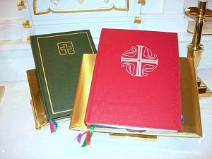 Evangelical Lutheran Worship - The altar book editions of the Lutheran Book of Worship (green) and Evangelical Lutheran Worship