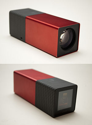 Light-field camera - Front and back of a Lytro, the first consumer light field camera, showing the front lens and LCD touchscreen.
