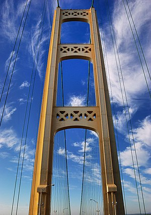 Mackinac Bridge - View of the north tower of the bridge