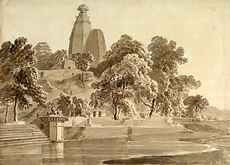 Yamuna - Madan Mohan temple, on the Yamuna at Vrindavan in Uttar Pradesh, 1789: the river has shifted further away since then.