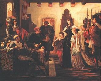 Ilona Zrínyi - Ilona Zrínyi in the Munkács Castle (Zrínyi Ilona Munkács várában), painted by Victor Madarász