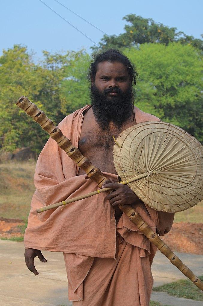 Mahima Sadhu with barada badi or palm leaf fan