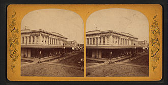Stockton, California - Main Street, Stockton, California, from Robert N. Dennis collection of stereoscopic views, ca. 1870.