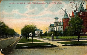 Main Street Market Square Historic District - Image: Main Street looking south from Dallas Avenue, Houston, Texas (1909)