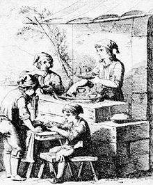 Bartolomeo Pinelli (1781–1835), Lazzari napoletani che mangiano maccheroni. Incisione.