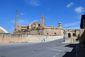 Fort Saint Michael - The Senglea Land Front today. Fort St. Michael was located on the site now occupied by the clock tower and the school.