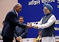 Manmohan Singh gave away the President's Police Medal to Shri K.S. Mani, Assistant Director, Chennai for distinguished services on the occasion of Independence day-2008, at the DGPsIGPs Conference-2008, in New Delhi.jpg