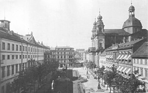 Jesuit Church, Mannheim - Jesuit church, and National Theatre 1900