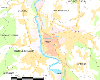Map of the commune of Vichy