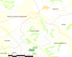 Cravencères - Cravencères and its surrounding communes