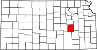 Map of Kansas highlighting Chase County