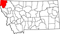 Map of Montana highlighting Lincoln County