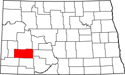 map of North Dakota highlighting Stark County