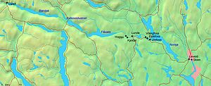Telemark Canal - Telemark Canal from Skien to Dalen. The canal to Heddalsvatnet is not shown, but connects the north end of Norsjø.