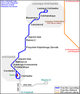Map of Volchansk Tramway