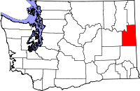 Locatie van Spokane County in Washington