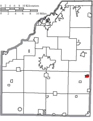 Bradner, Ohio - Image: Map of Wood County Ohio Highlighting Bradner Village
