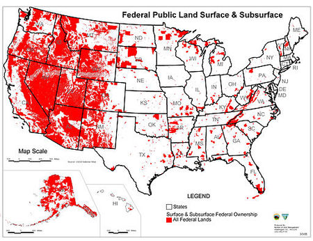Red areas denote Federal public lands. The Federal Government manages more than 25% of the American West.