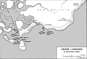 A black and white map of the Arawe area depicting the 112th Cavalry Regiment's landing on 15 December 1943 as described in the article