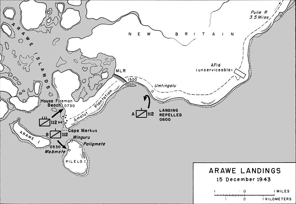 Map of the Allied landings at Arawe on 15 December 1943