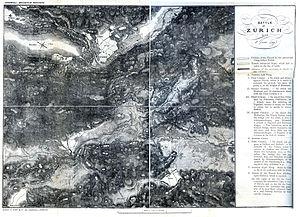 First Battle of Zurich - Map of the First Battle of Zurich, 4 June 1799
