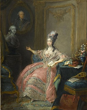 Marie Joséphine of Savoy - Marie-Joséphine pointing to a bust of her husband with a portrait of her father
