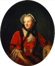 A portrait of Queen Marie Leszczyńska dressed in red with a bonnet on.