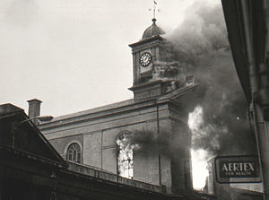 Monmouth Museum - Market Hall on fire in 1963