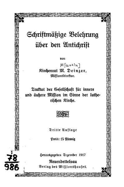 File:Martin Deinzer - Schriftmäßige Belehrung über den Antichrist.pdf